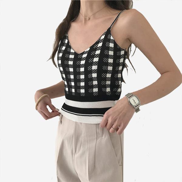 百搭基本個性格纹針織小可愛 (黑白 黃白 紅白 咖白) 11910052
