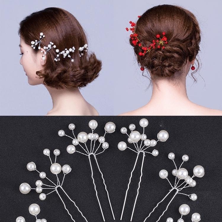 新娘跟妝盤頭飾品串水晶珍珠 插針u型夾發簪發卡盤發造型工具頭飾【印象閣樓】
