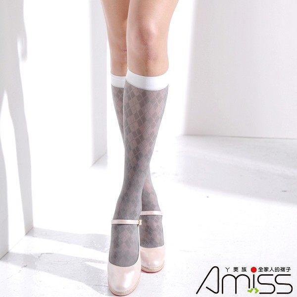 Amiss襪子團購網【A401-15】花紋中統絲襪-菱格(竹炭灰)
