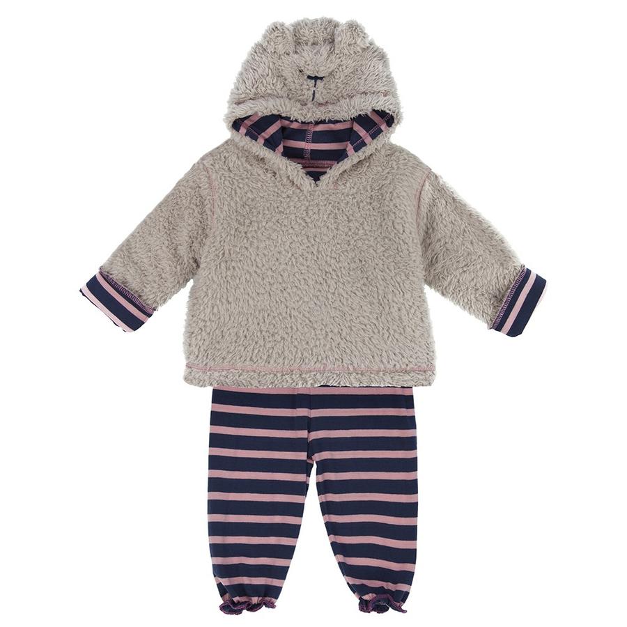 套裝 / 長袖套裝 / 絨毛 Lilly and Sid 粉紅深藍條紋小熊雙面絨毛上衣 長褲2件組 LSBG203