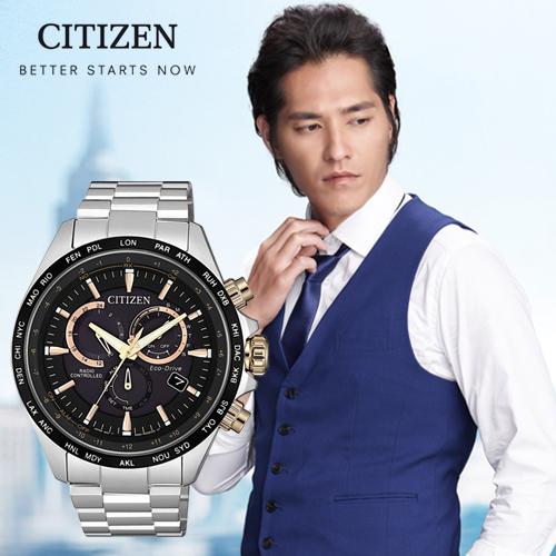 CITIZEN 星辰 Eco-Drive 浩瀚時刻光動能電波對時腕錶/玫瑰金 CB5834-86E 熱賣中!