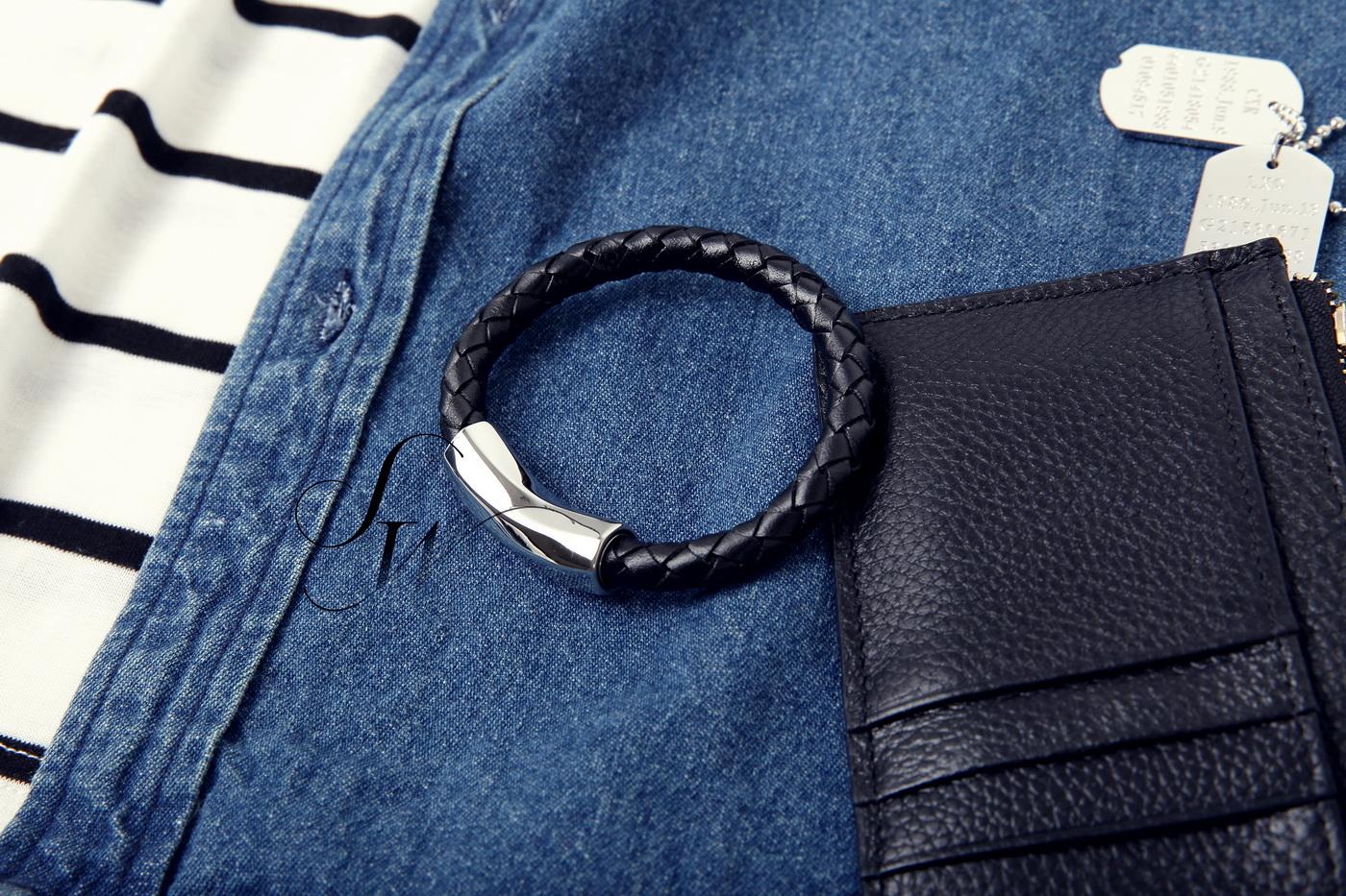 SW正韓韓國製時尚精品~扣壓式磁石扣頭螺旋鈦鋼粗編織皮革手環黑BV感K81121