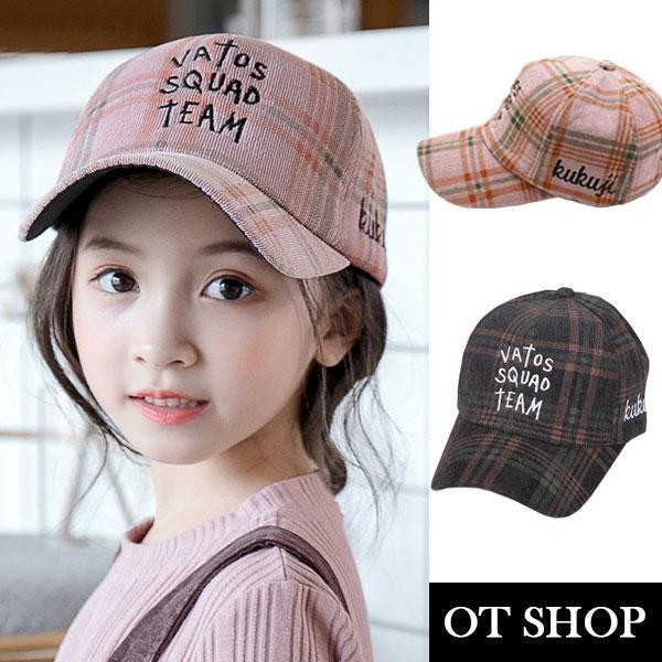 OT SHOP 兒童帽子 棒球帽 孩童 線條格子帽子 兒童服飾穿搭配件 親子出遊穿搭 現貨2色 C5003