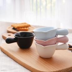 100cc黑白奶杯烘焙烤盅陶瓷杯耐烤布丁杯慕斯杯帶手把瓷烤盅烤碗烤布蕾