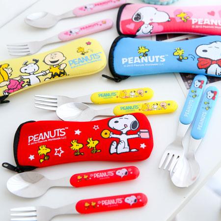 正版史奴比兒童叉匙組兩件式叉匙組潛水布不鏽鋼叉子湯匙餐袋Snoopy史奴比餐具