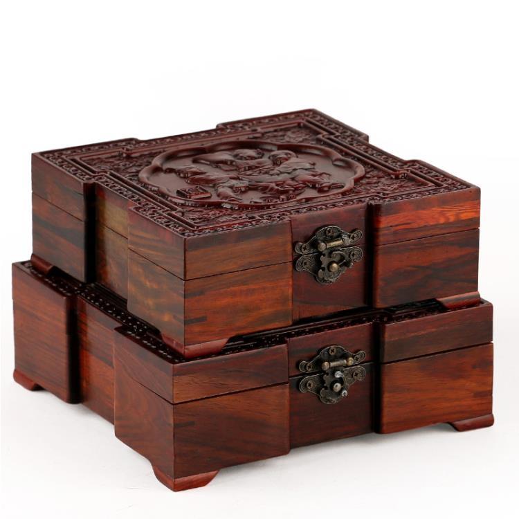 超豐國際紅木工藝品酸枝正方首飾盒中式仿古印章盒子玉1入