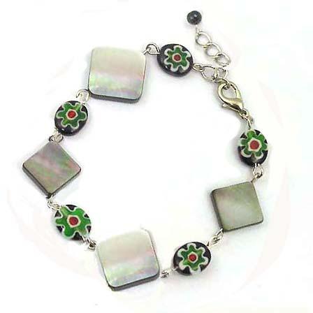 貝殼菱形與琉璃花手鍊
