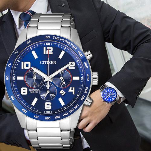 CITIZEN 星辰 限量飛行紳士三眼計時腕錶/藍 AN8161-50L 公司貨 石英錶 熱賣中!