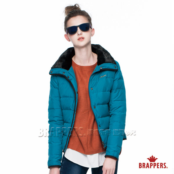BRAPPERS女款女用毛領短版羽絨外套-藍綠