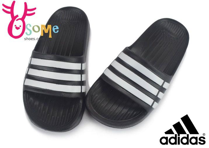 ADIDAS拖鞋 中大童(女段) 足弓舒適超輕量防水設計經典三線LOGO拖鞋N9391#黑色◆OSOME奧森童鞋/小朋友