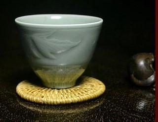 協貿國際青瓷金魚蓮花杯茶杯咖啡玲瓏杯1入