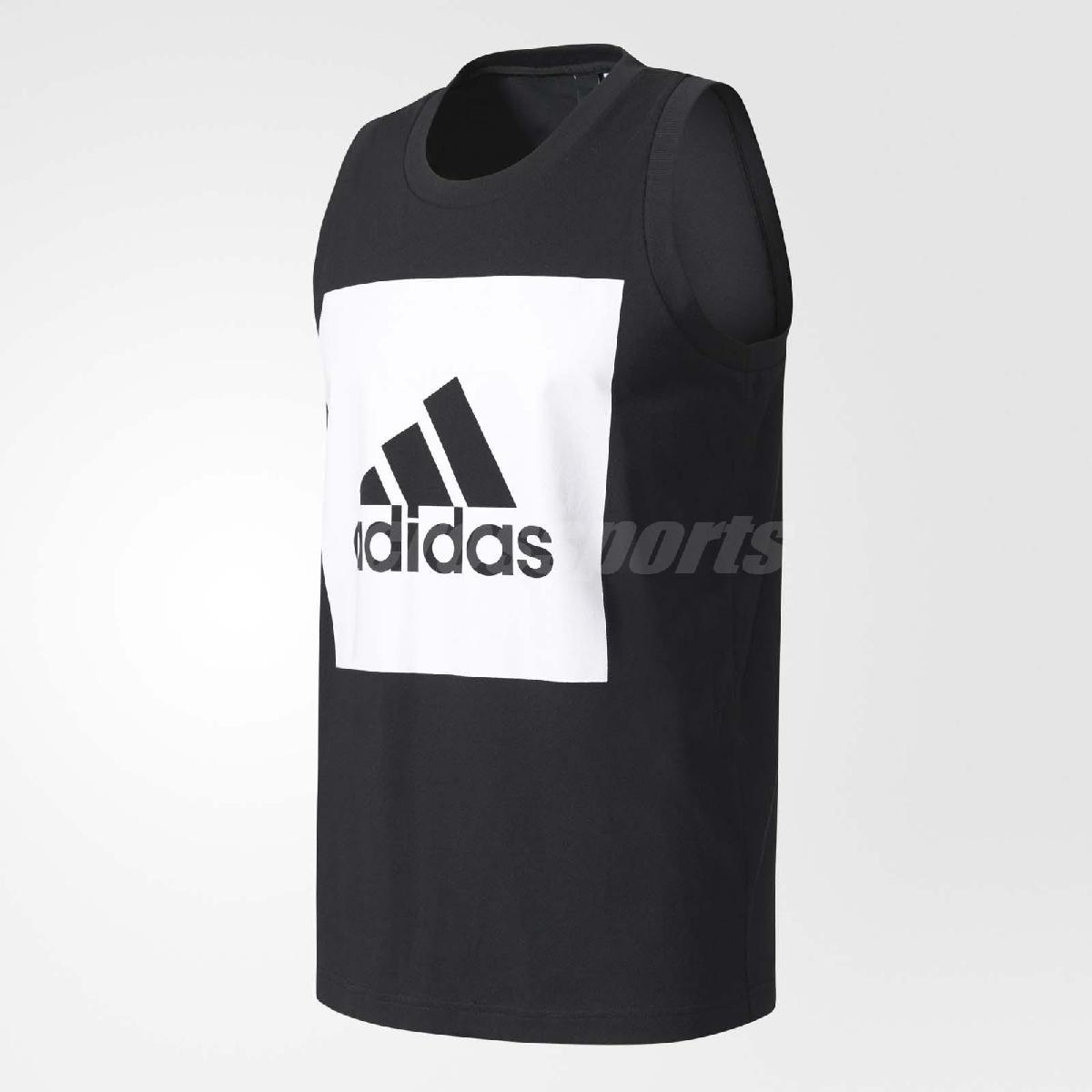 adidas 背心 Essential Tank 男款 大Logo 三條線 球衣 無袖 圓領 上衣 吊嘎 基本款 黑白 【PUMP306】 B47364