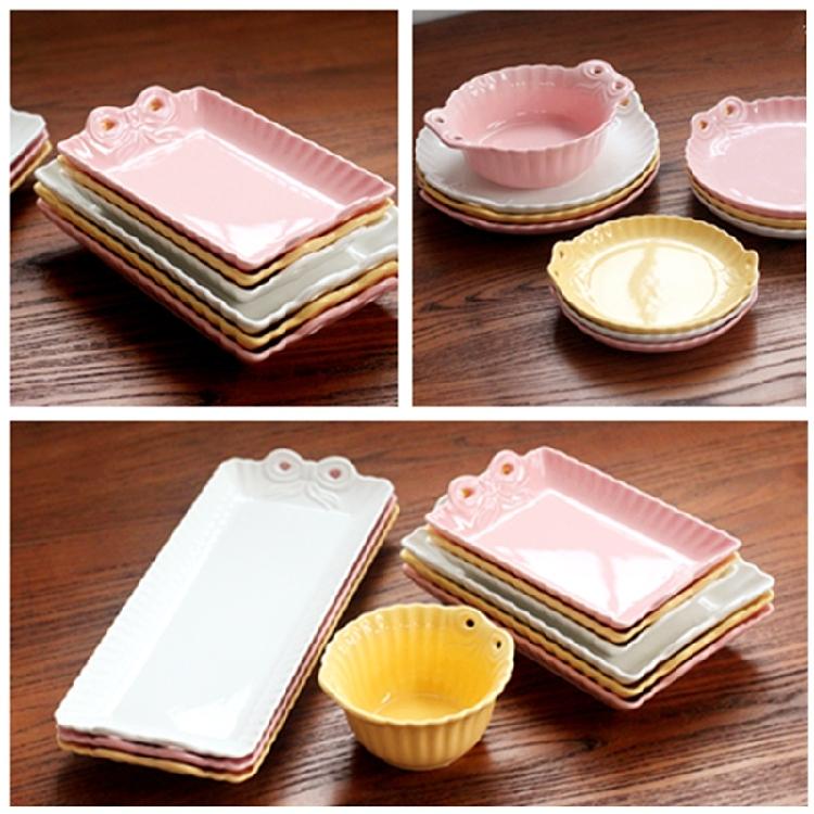 超豐國際蝴蝶結陶瓷長方形盤子甜品盤蛋糕盤壽司盤小菜盤