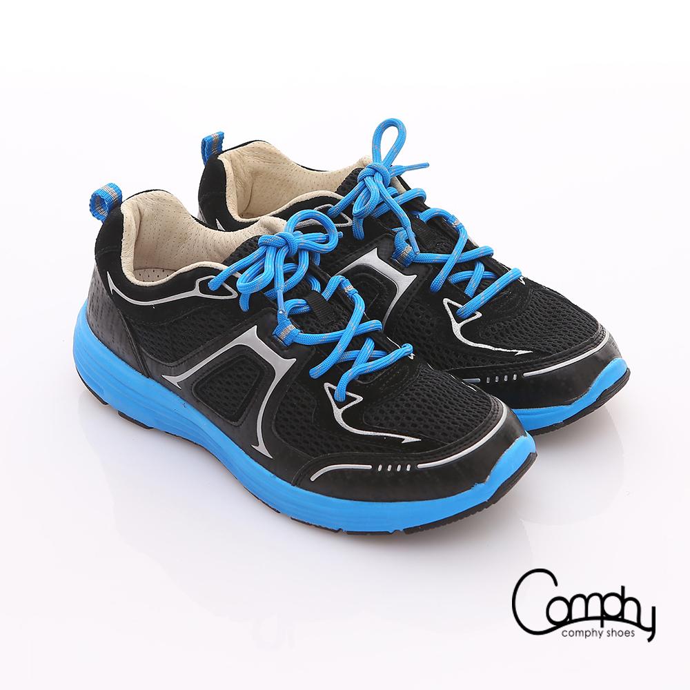 Comphy 3D氣動鞋全真皮透氣網布運動鞋黑