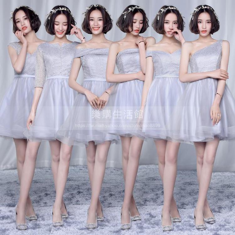 灰色伴娘禮服短款/韓版小禮服LG-2612