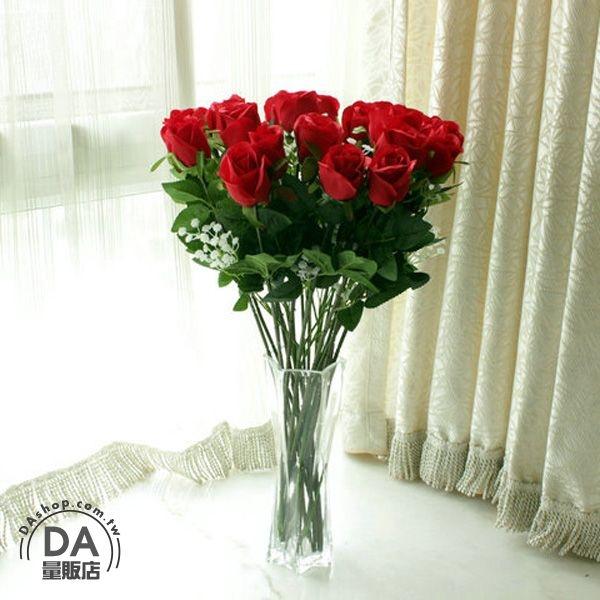 DA量販店9朵1組賣仿真塑膠花假花造景裝潢婚禮佈置單朵玫瑰花79-3656