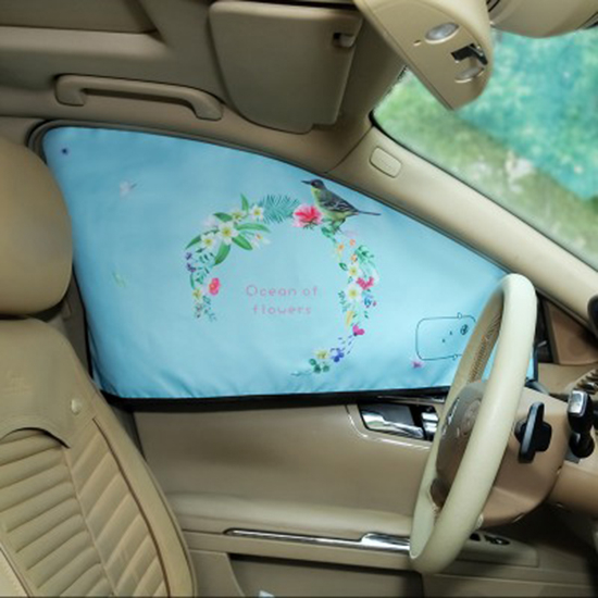 米菈生活館K68-1印花磁吸汽車遮陽擋遮陽簾三層隔熱防曬車窗簾磁吸式車窗