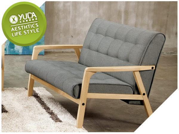 沙發YUDA北歐風妮克絲休閒雙人實木優麗坦棉麻沙布發椅沙發J7M 709-7