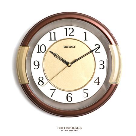 SEIKO精工掛鐘典雅咖啡色粗框設計簡約數字雙圈時鐘提升居家生活柒彩年代NE1617原廠公司貨