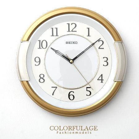 SEIKO精工掛鐘獨特金銀粗框設計簡約數字雙圈時鐘提升居家生活柒彩年代NE1085原廠公司貨