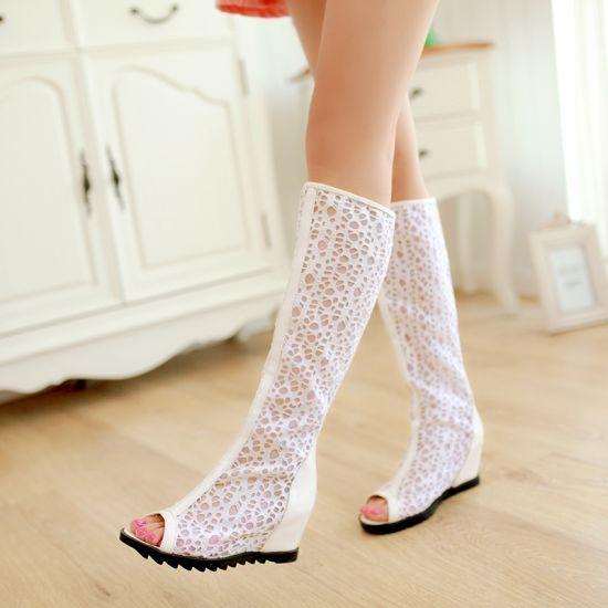 3C膜露露新款鏤空魚口設計長靴網布高筒靴