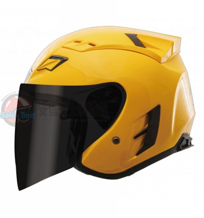 中壢安信SBK SUPER-RR素色黃色半罩安全帽複合材質內襯可拆
