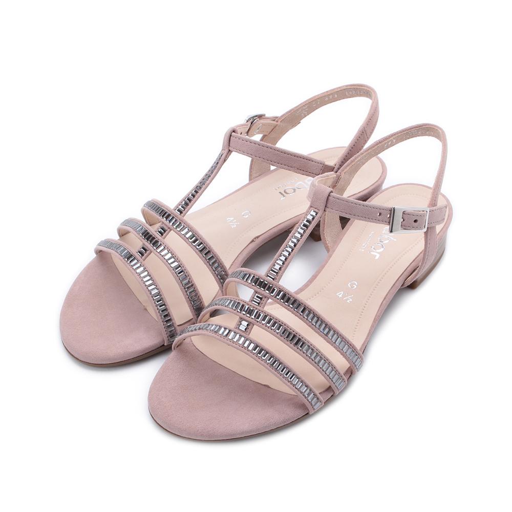 德國 GABOR 小方鑽細帶低跟涼鞋 粉 22.813.35 女鞋