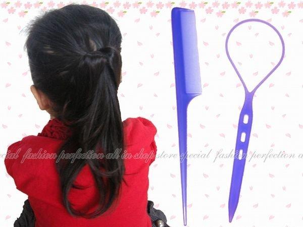【EI420】編髮器 尖尾梳2入(彩色款)-大(成人)18536 花樣盤髮器.穿髮棒.編髮棒.髮飾編織器★EZGO商城★
