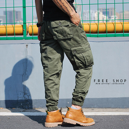Free Shop素面多口袋抽繩縮口褲工作長褲寬鬆版型黑色軍綠色卡其褲束口褲有大尺碼QTJK0472