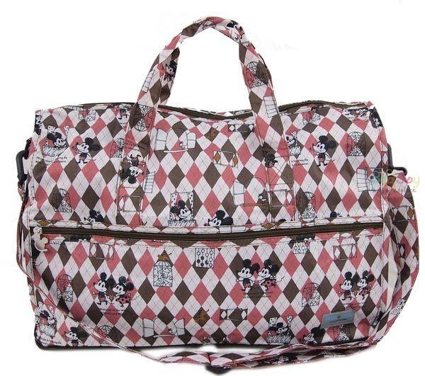 HAPI TAS摺疊小旅行袋迪士尼米奇菱形咖啡色H0002-MK12