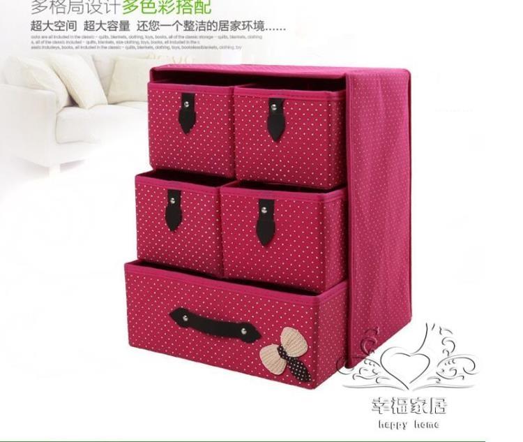 無紡布三層五抽多層內衣收藏櫃多功能整理盒收納箱TW幸福家居