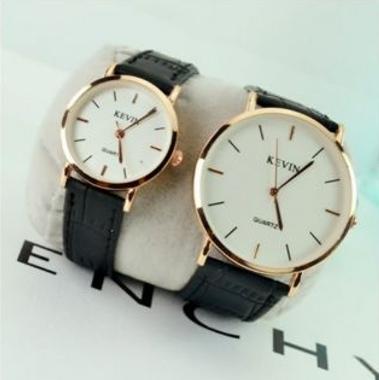 【NaYi】 韓國KEVIN牛皮質男女對錶 人手一支 手錶 情人節首選 姊妹交換禮物