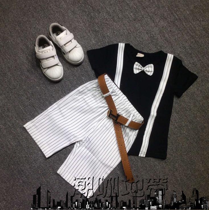 兒童禮服男童禮服套裝純棉短袖T恤條紋短褲「潮咖地帶」