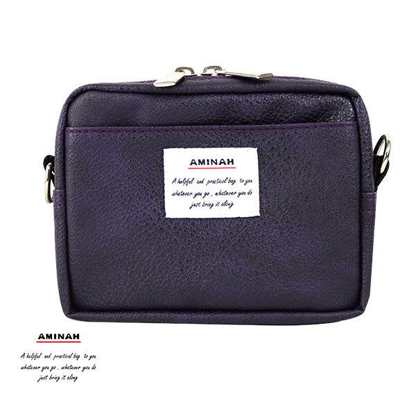 紫色皮革兩用隨身小包小腰包肩背包AMINAH~am-0266