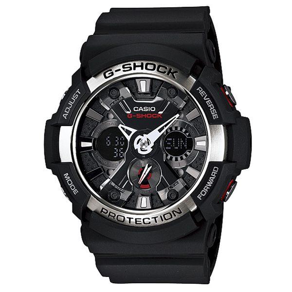 CASIO G-SHOCK金屬狂潮雙顯運動錶黑-GA-200-1ADR