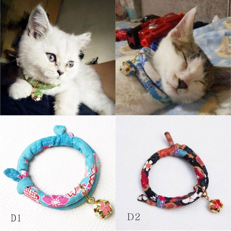 手工定制寵物和風招財貓項圈鈴鐺項圈貓狗項圈日本布-D系列:6色---8月份新品
