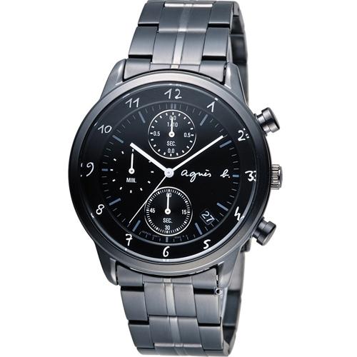 agnes b悠緩步調計時腕錶BM3002J1 VD57-00A0SD黑