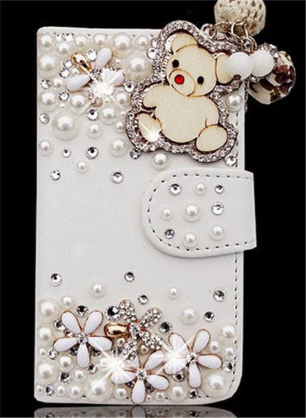 俏魔女美人館HTC ONE E8小熊皮套水鑽保護殼翻蓋套貼鑽手機套保護殼保護套