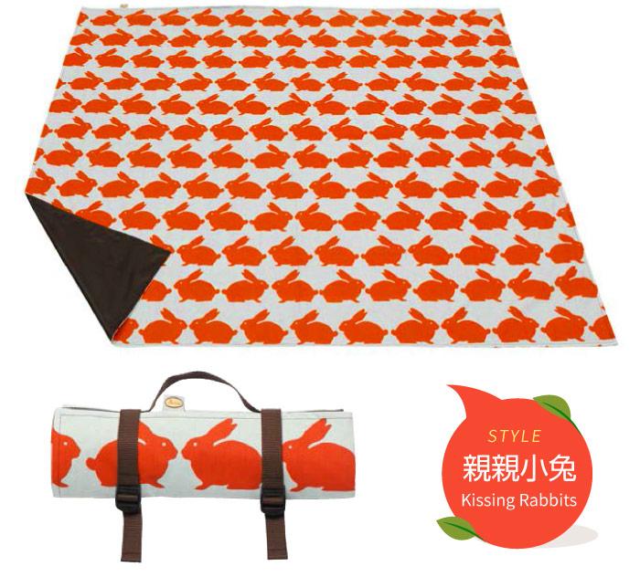 野餐墊 地墊 英國Anorak印花防水野餐墊 親親小兔 英國設計製造,精緻車縫 里和 Riho