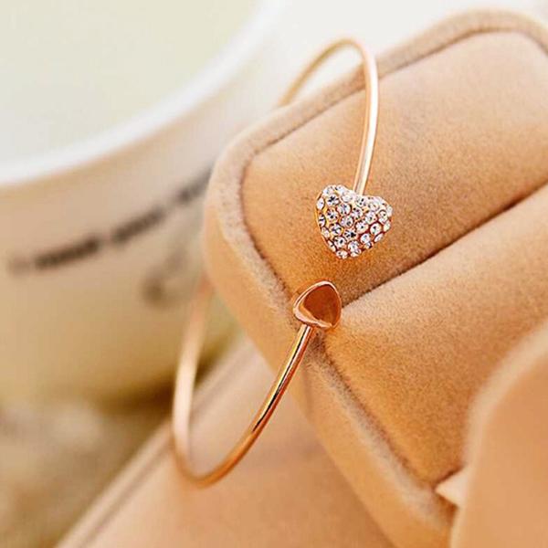 韓版 飾品 滿鑽 心形 愛心 手鍊 開口 鍍金 手鐲 雙桃心 手環女