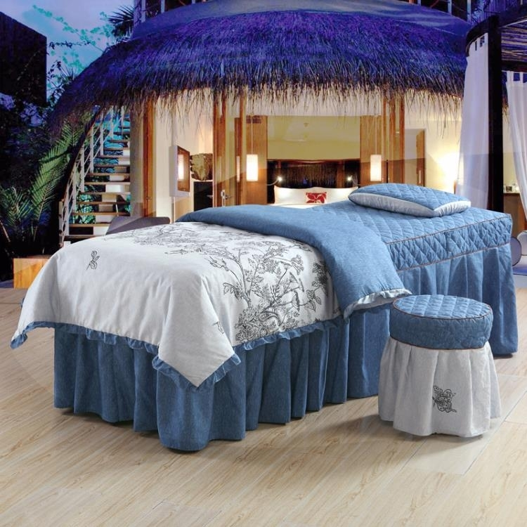 美容院按摩床品套件4件套美容床罩四件套粉色SPA美體床單TW
