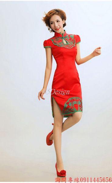 45 Design定做預購7天到貨復古旗袍裙夏裝時尚改良旗袍新娘結婚婚紗禮服旗袍