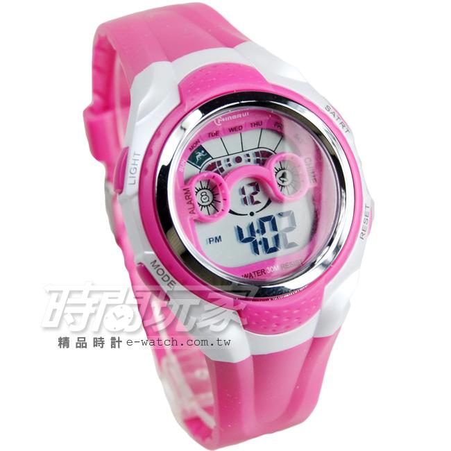 MINGRUI輕便多功能計時腕錶學生電子錶兒童手錶女錶鬧鈴日期冷光照明MR8580桃紅