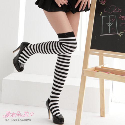 學生襪 聖誕襪 紅白.黑白.黑黃橫紋大腿襪 過膝長襪-愛衣朵拉