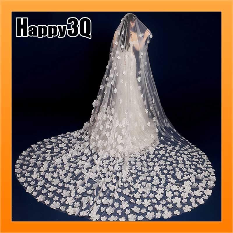 新娘結婚紗照白色花朵花碎花瓣蕾絲超薄花邊加長頭紗拖尾白紗-多款【AAA1698】預購