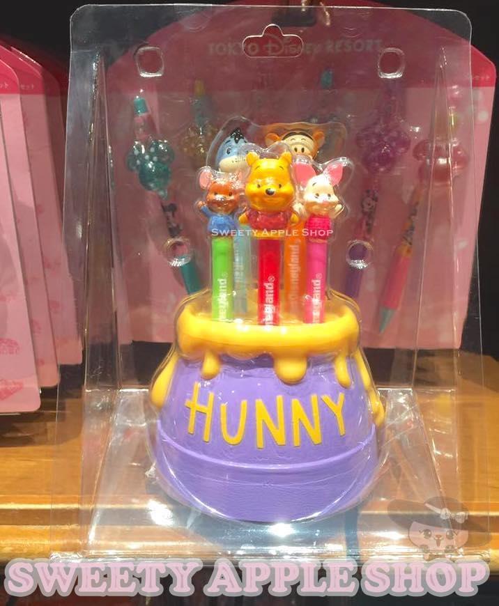 日本東京迪士尼限定小熊維尼家族蜂蜜糖罐5色水性色筆套組