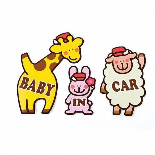 Kikka日製車用造型磁鐵組BABY IN CAR-長頸鹿.兔子.綿羊衛立兒生活館