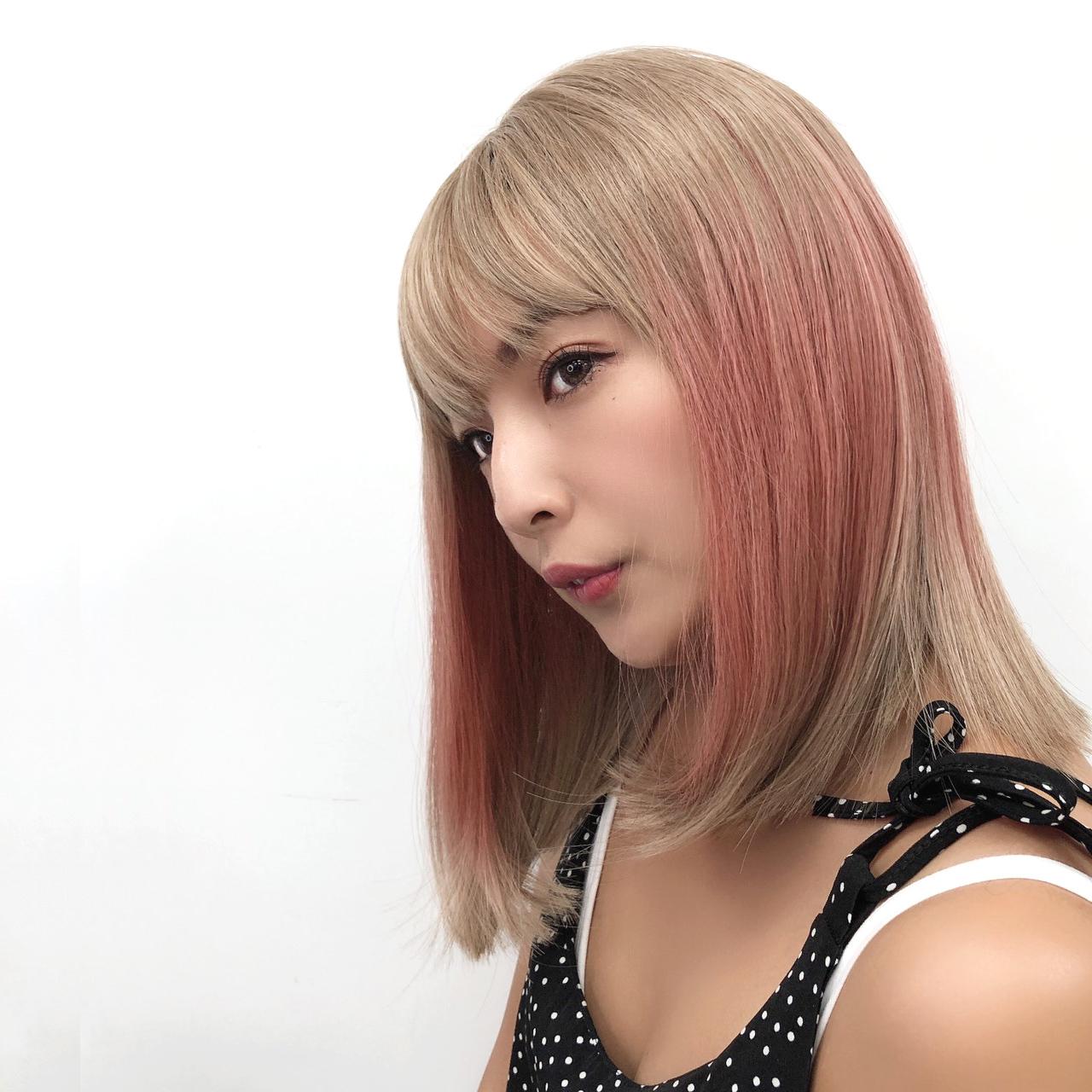 韓系全頂假髮 漸層白金 中長髮 挑染粉紅 魔髮樂 D3089