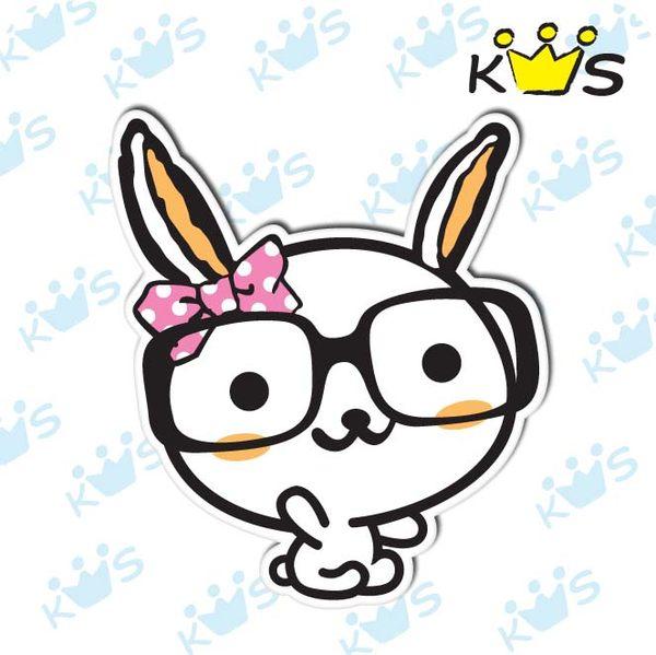 【防水貼紙】兔兔戴黑框 # 壁貼 防水貼紙 汽機車貼紙 4.7cm x 5.3cm
