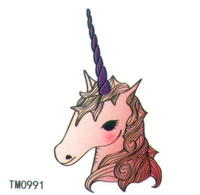 薇嘉雅    獨角獸  超炫圖案紋身貼紙 TM0991